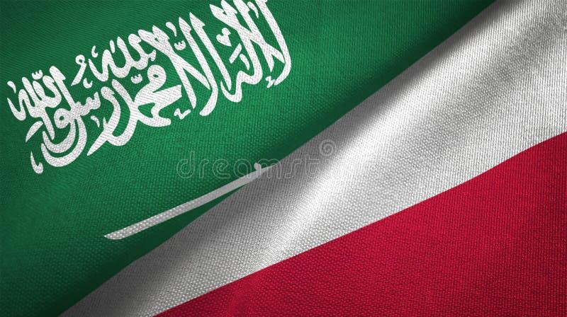 Polen en Saudi-Arabië twee de stoffentextuur van de vlaggen textieldoek vector illustratie