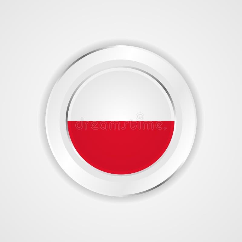 Polen flagga i glansig symbol vektor illustrationer