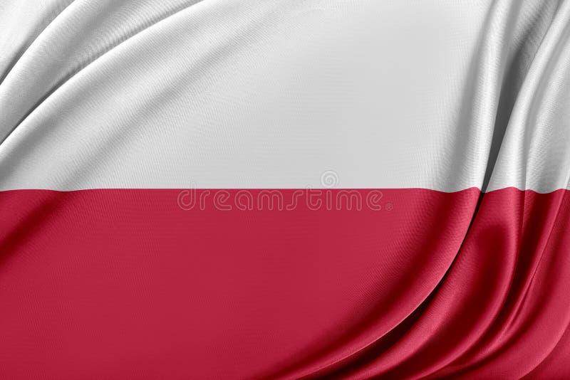 Polen flagga med en glansig siden- textur royaltyfri illustrationer