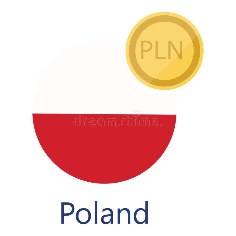 Polen flagga och valuta royaltyfri illustrationer