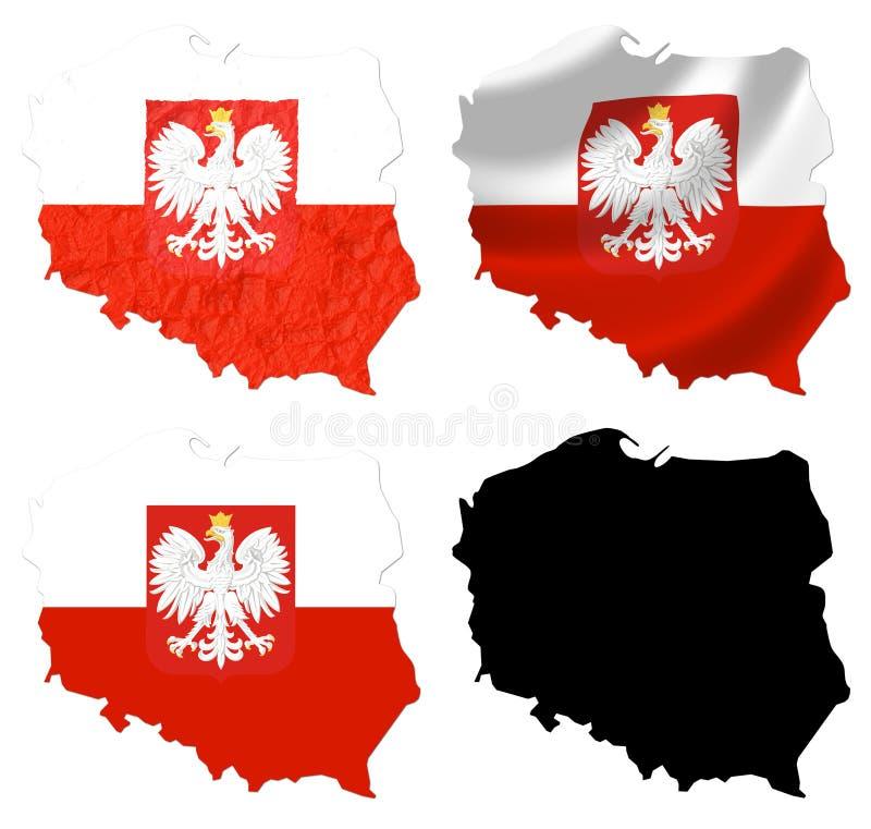Polen-Flagge über Kartencollage stock abbildung