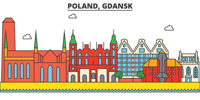 Polen, Gdansk De architectuur van de stadshorizon editable stock illustratie