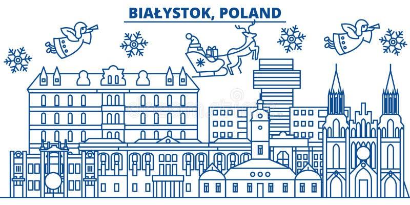 Polen horisont för Bialystok vinterstad glad jul, stock illustrationer