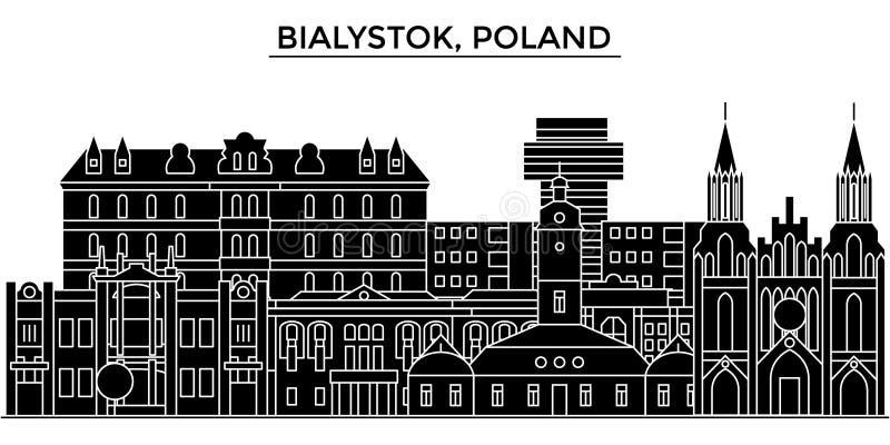 Polen horisont för staden för den Bialystok arkitekturvektorn, loppcityscape med gränsmärken, byggnader, isolerade på sikt stock illustrationer