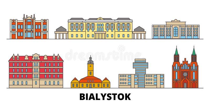 Polen illustration för Bialystok plan gränsmärkevektor Polen Bialystok linje stad med berömda loppsikt, horisont stock illustrationer