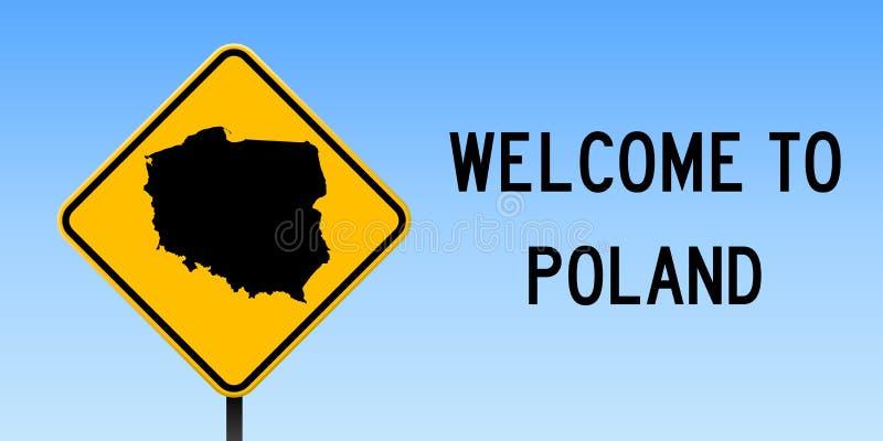 Polen-Karte auf Verkehrsschild lizenzfreie abbildung