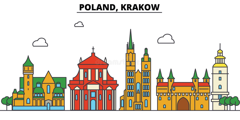 Polen, Krakau De architectuur van de stadshorizon editable vector illustratie