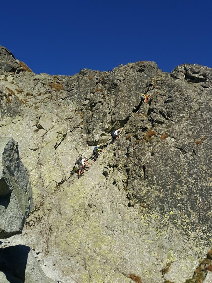 Polen, Malopolska, Tatra-Berge - ein Klettern auf dem Gerlach-Berg stockfotos
