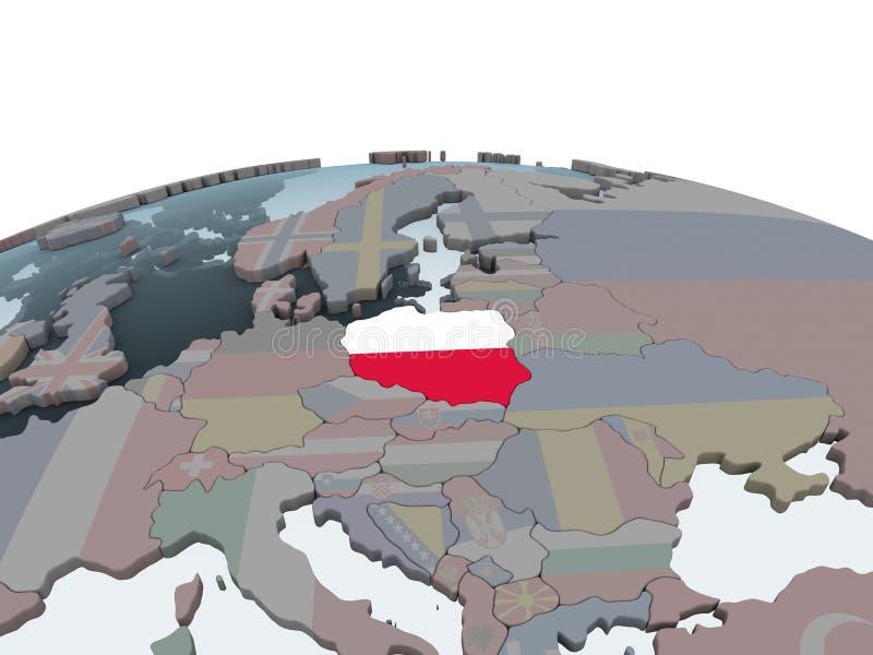 Polen mit Flagge auf Kugel stock abbildung