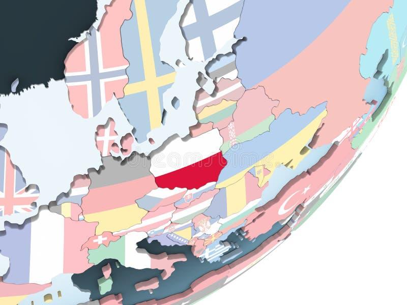 Polen mit Flagge auf Kugel lizenzfreie abbildung