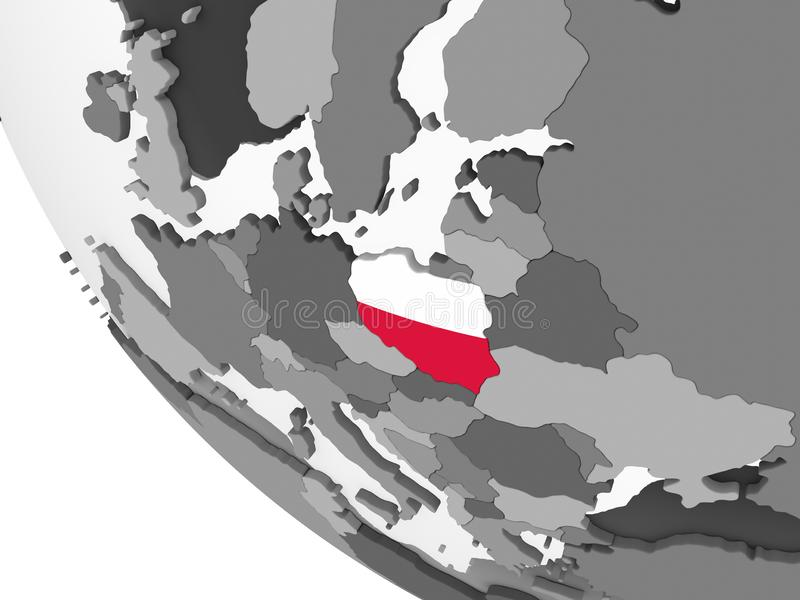 Polen mit Flagge auf Kugel vektor abbildung