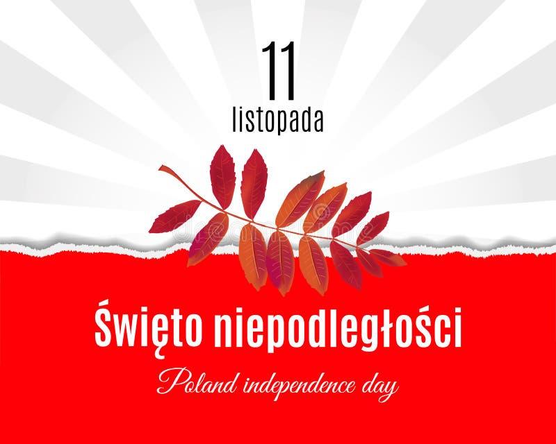 Polen nationell självständighetsdagenöversättning på polermedel Den sönderrivna pappersPolen flaggan och plakatet för blad för be royaltyfri illustrationer