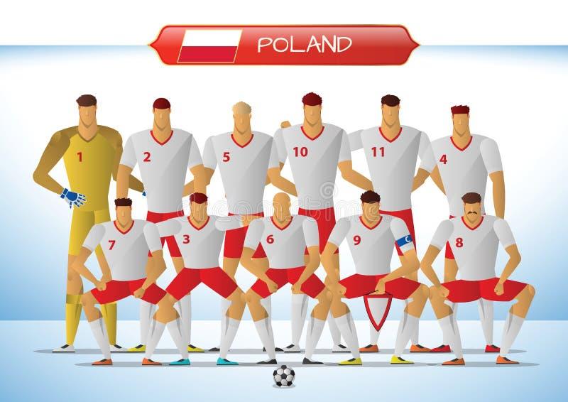 Polen nationellt fotbollslag för internationell turnering stock illustrationer