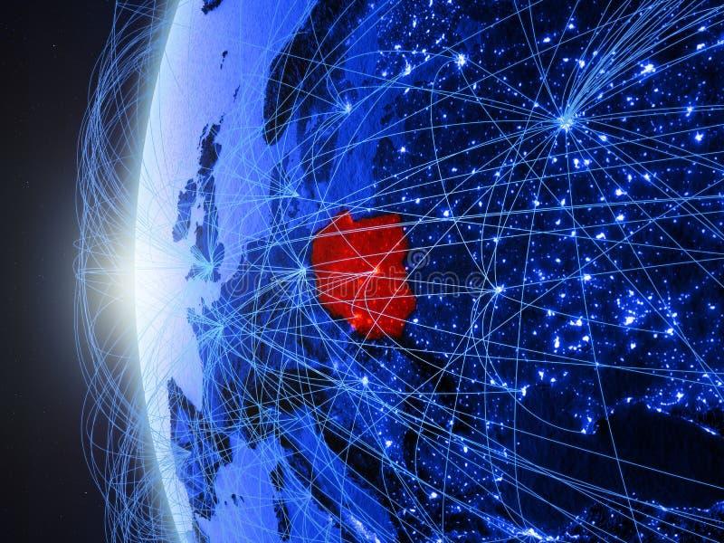 Polen op blauwe Aarde met netwerk stock illustratie