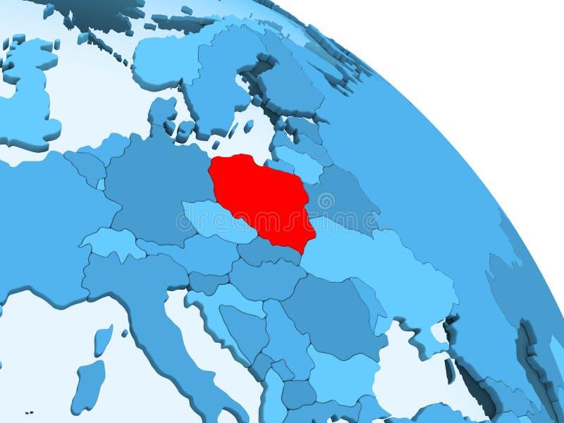 Polen op blauwe bol royalty-vrije illustratie