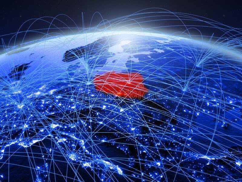 Polen op blauwe digitale aarde met internationaal netwerk die mededeling, reis en verbindingen vertegenwoordigen 3D Illustratie stock foto's