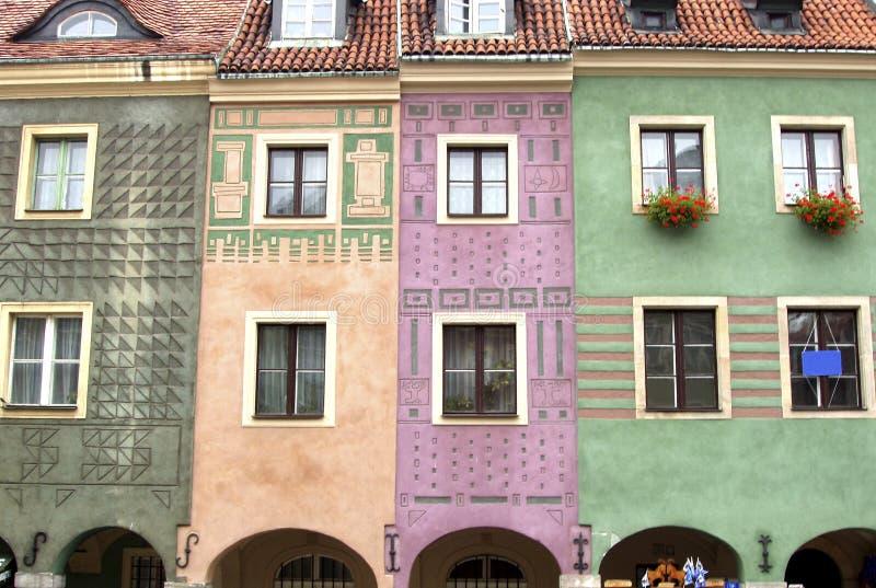 Polen, Poznan - Häuser in der alten Stadt stockbild