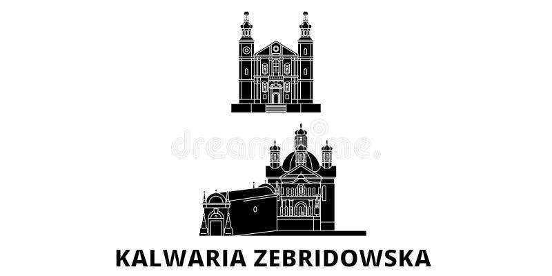 Polen, reeks van de de reishorizon van Kalwaria Zebrzydowska de vlakke Polen, zwarte de stads vectorillustratie van Kalwaria Zebr royalty-vrije illustratie