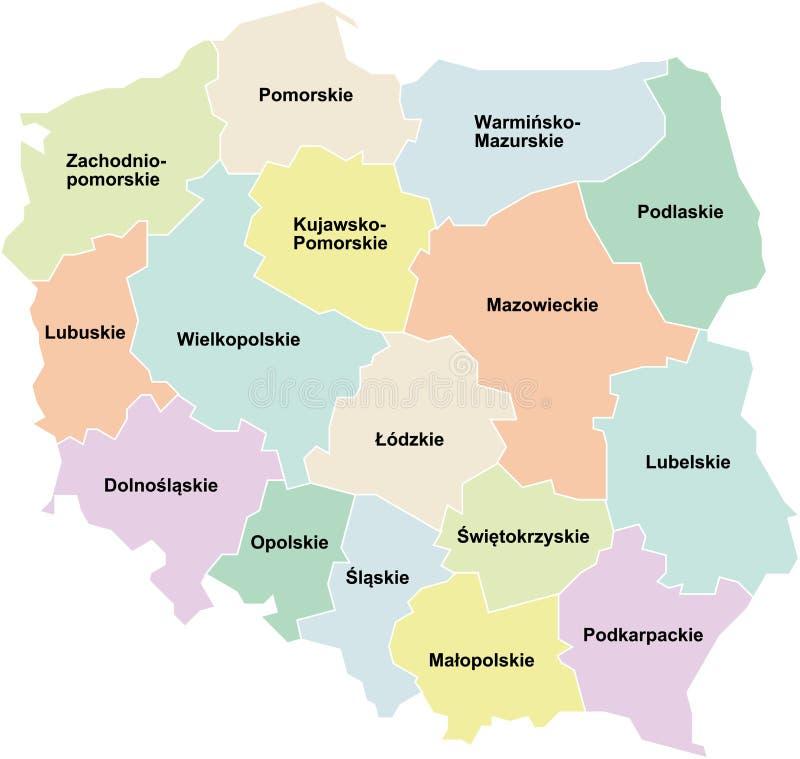 Polen - Regionen/voivodeships lizenzfreie abbildung