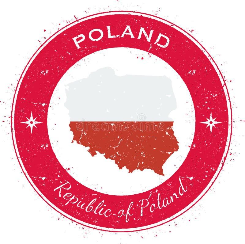 Polen runt patriotiskt emblem stock illustrationer