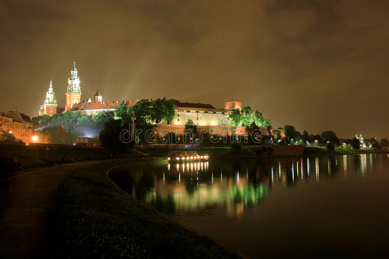 Polen 's nachts - Krakau royalty-vrije stock fotografie