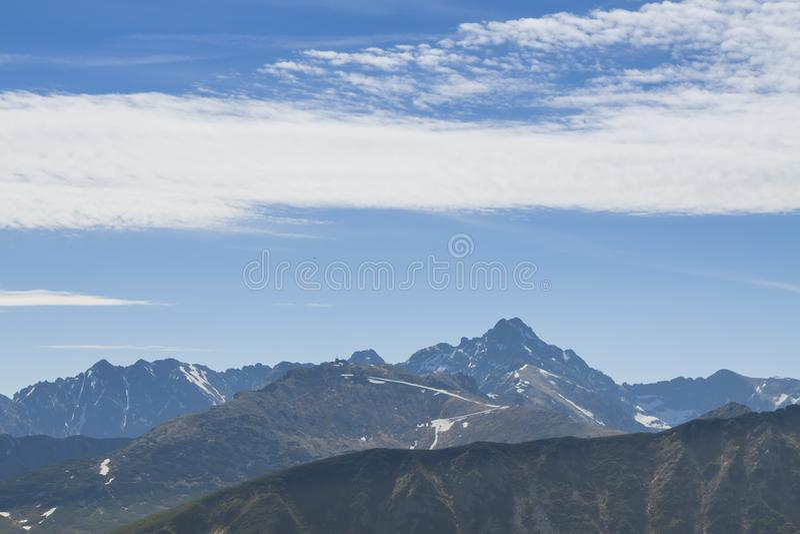 Polen/Slowakije, Tatra-Bergen, de Pieken van Kasprowy en Swinica- stock afbeelding