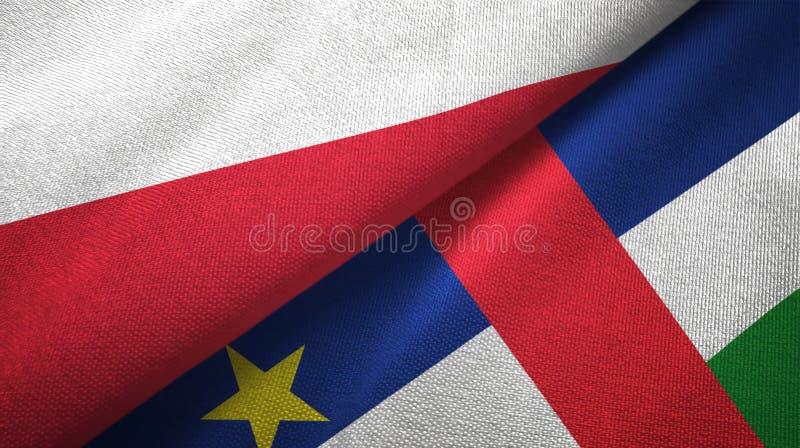 Polen- und Republik- Zentralafrikazwei Flaggentextilgewebebeschaffenheit vektor abbildung