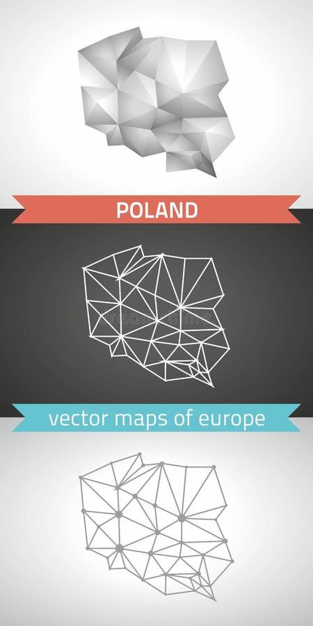 Polen uppsättning av polygonal översikter för grå färg- och silvermosaik 3d stock illustrationer