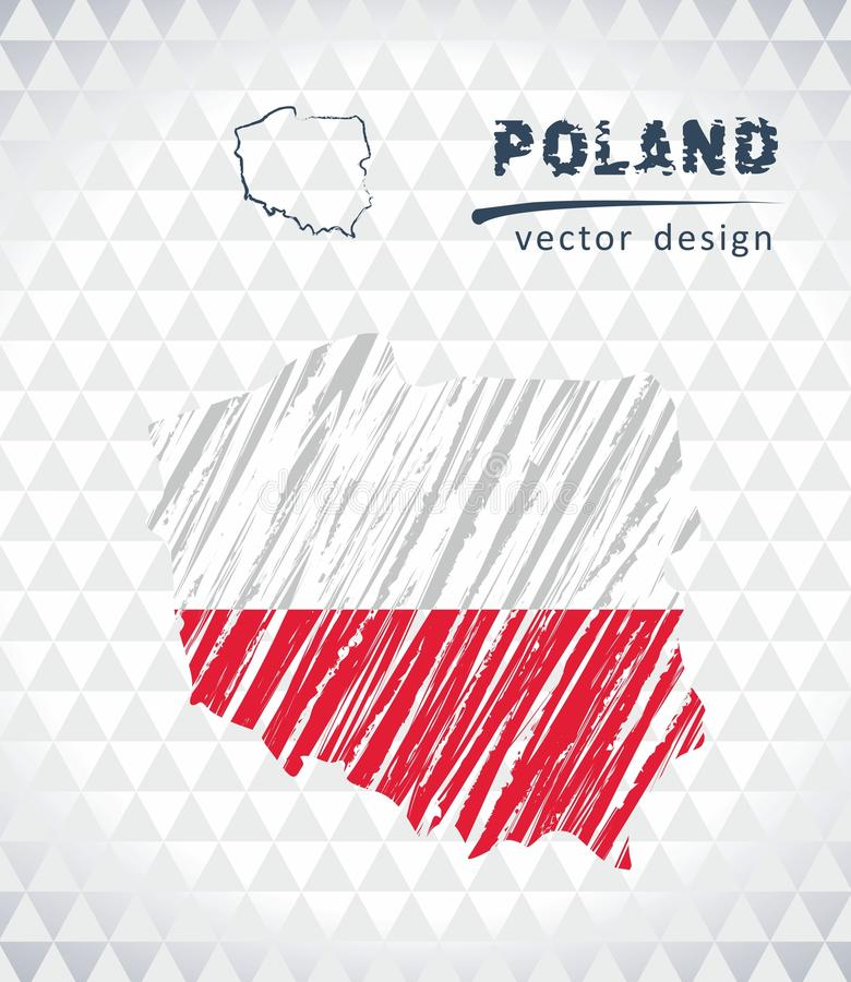 Polen-Vektorkarte mit dem Flaggeninnere lokalisiert auf einem weißen Hintergrund Gezeichnete Illustration der Skizzenkreide Hand lizenzfreie abbildung