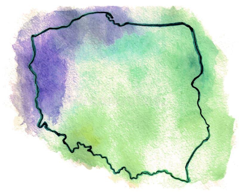 Polen-Vektorkartenillustration lizenzfreie abbildung