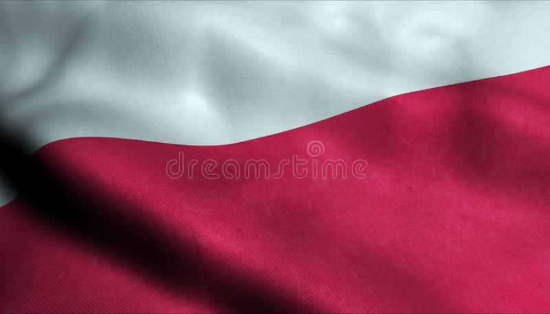 Polen vinkande flagga i 3D stock illustrationer