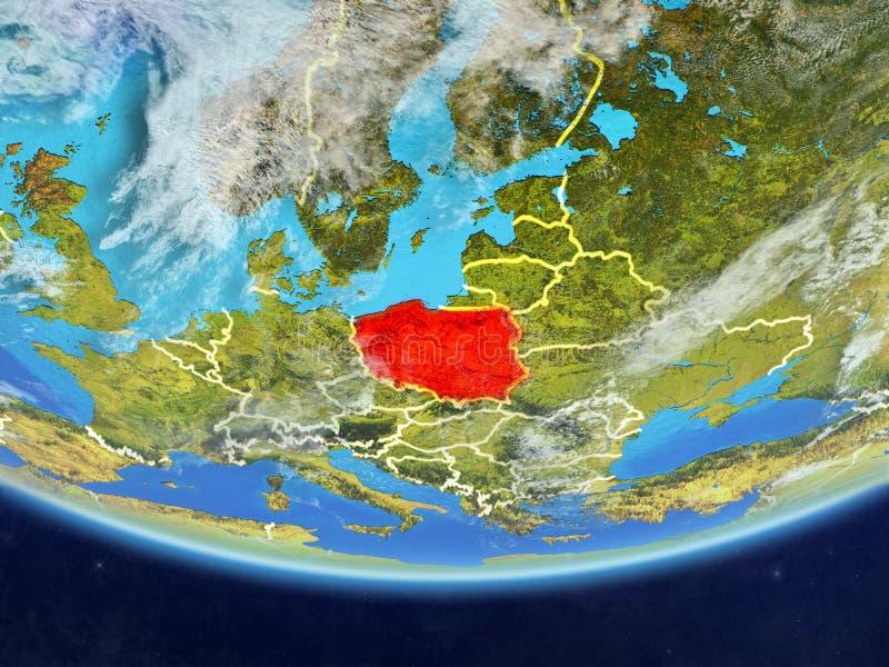 Polen vom Raum auf Erde stock abbildung