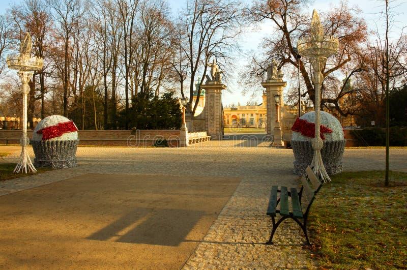 Polen-Warshau, December 2015 De belangrijkste weg voor ingang in R stock afbeelding