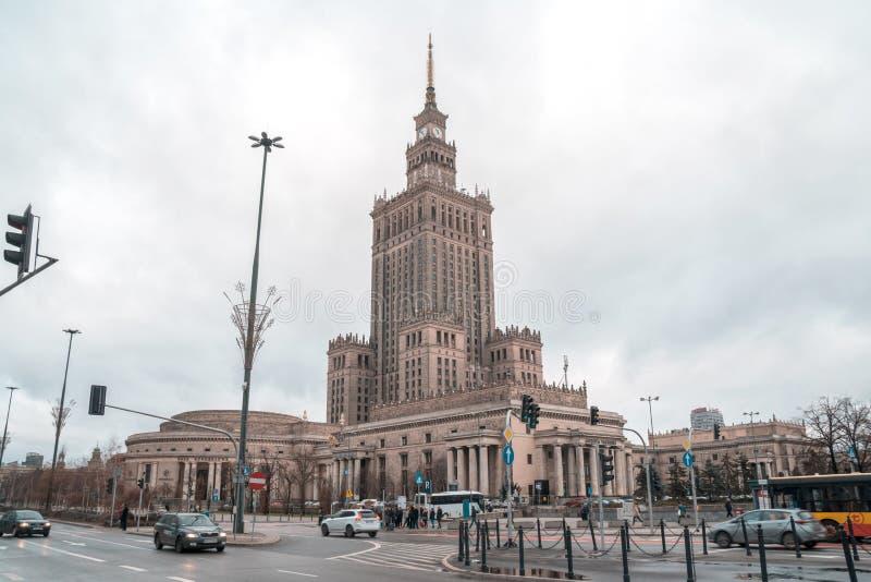 Polen, Warshau - 02 01 2019: Paleis van Cultuur en Wetenschap in Warshau stock foto