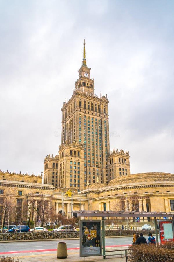 Polen, Warshau - 02 01 2019: Paleis van Cultuur en Wetenschap in Warshau royalty-vrije stock fotografie