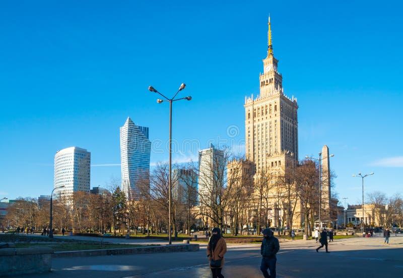 Polen, Warshau - 02 01 2019: Paleis van Cultuur en Wetenschap in Warshau royalty-vrije stock foto