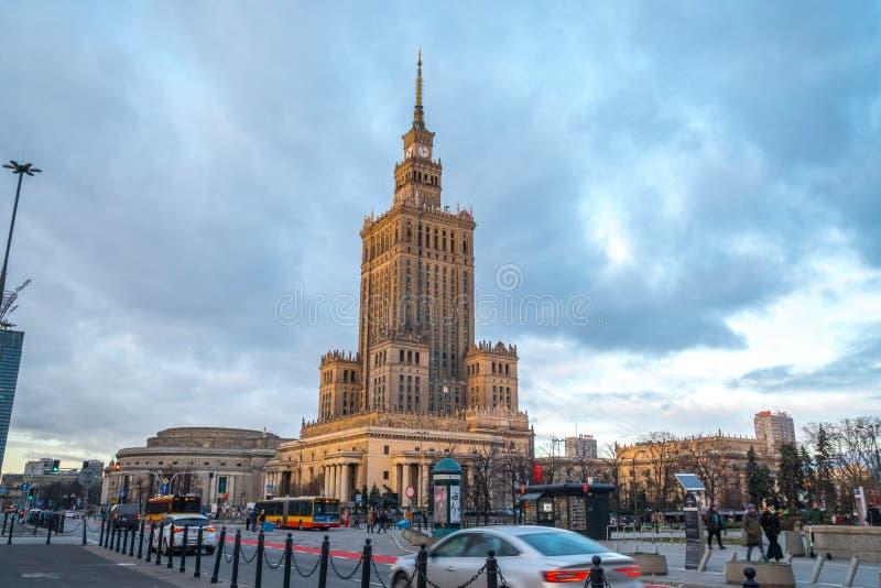 Polen, Warshau - 02 01 2019: Paleis van Cultuur en Wetenschap in Warshau royalty-vrije stock afbeelding