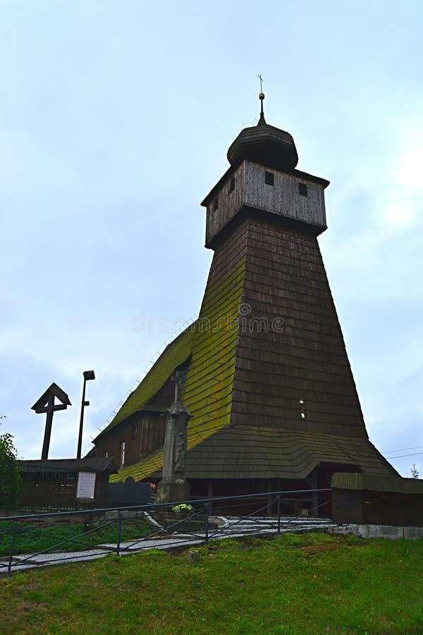 Polen, Wisla Mala, catolic tempel, houten kerk, toerisme, aalmoezenier, godsdienst stock foto