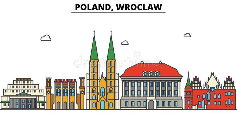 Polen, Wroclaw De architectuur van de stadshorizon editable stock illustratie