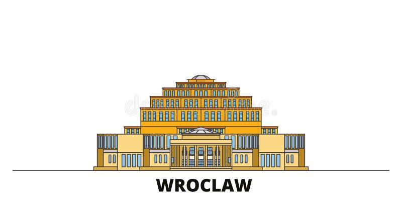 Polen Wroclaw, hundraårs- illustration för Hall plan gränsmärkevektor Polen Wroclaw, hundraårs- Hall linje stad med vektor illustrationer