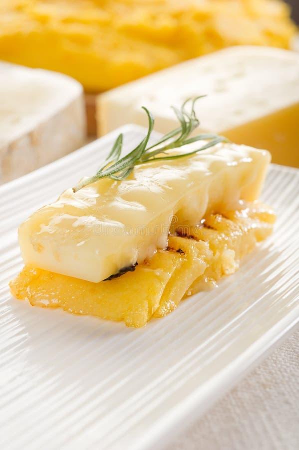 Polenta asado a la parilla con queso foto de archivo