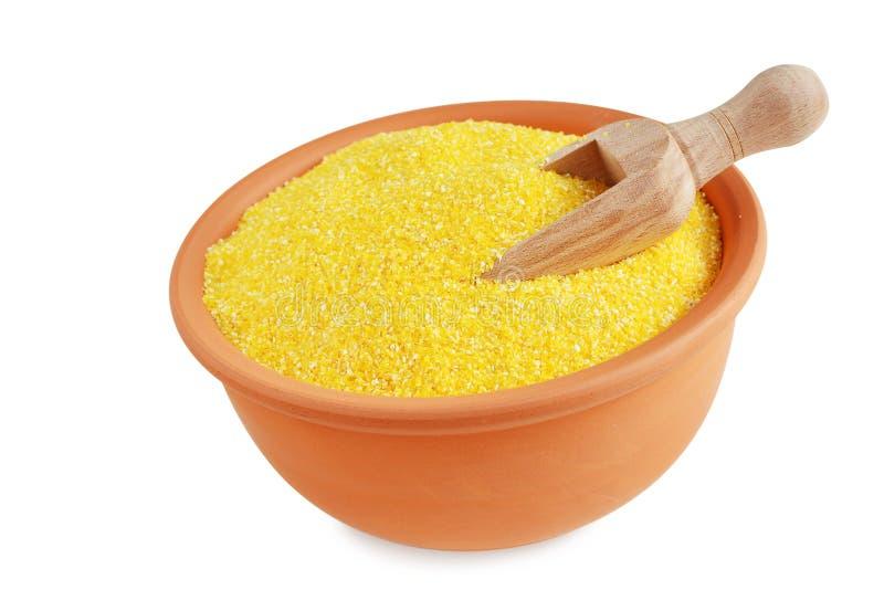 Polenta lub kukurydzany posiłek w pucharze zdjęcia stock