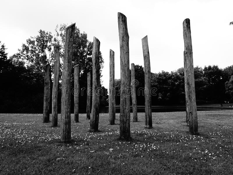 Poles ah the pond royalty free stock images