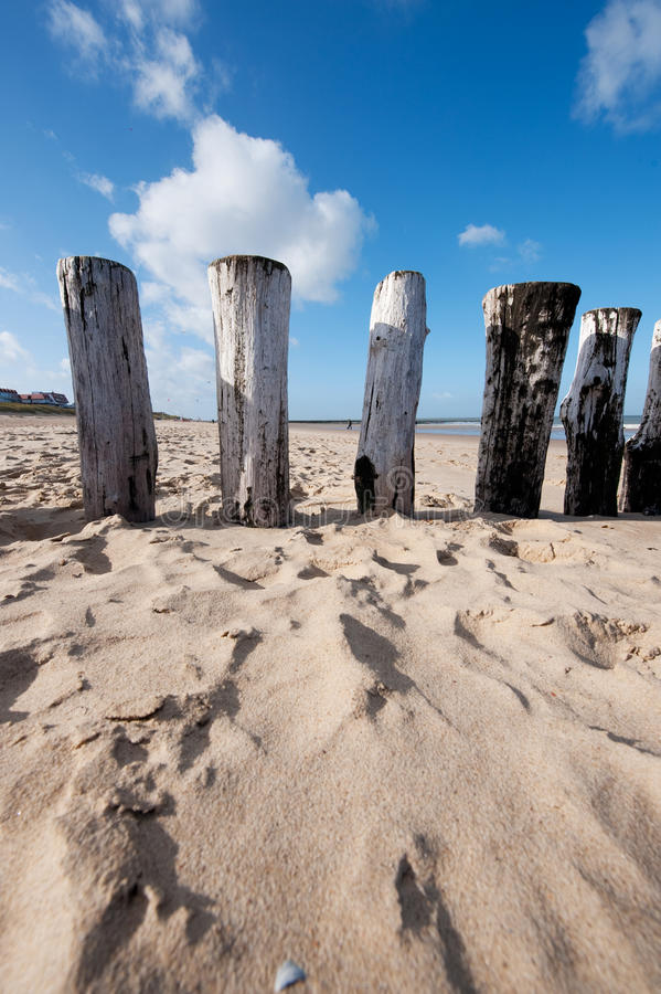 Poles at the beach royalty free stock photography