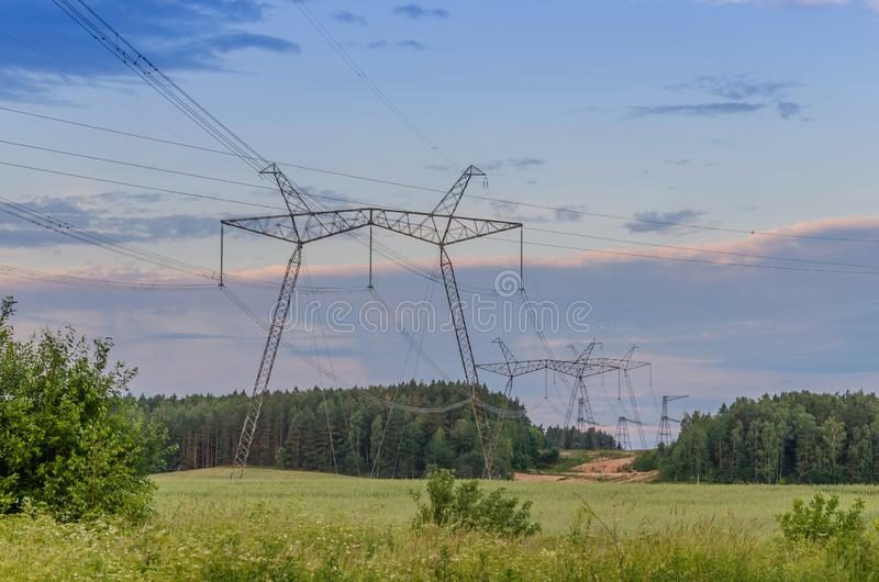 Poles of power lines in the forest zone/poles of power lines in the forest zone under blue sky. Poles of power lines in the forest zone/ poles of power lines in stock photo