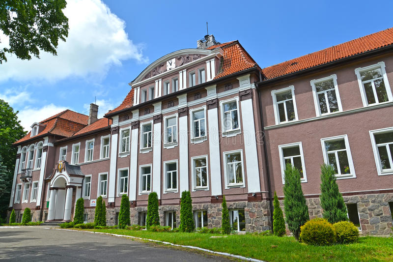 POLESSK, RUSSIA. Facade of the building of the Kaliningrad branch of the St. Petersburg state agricultural university stock photos