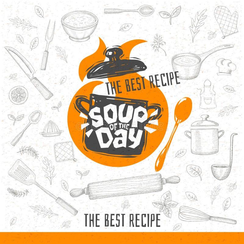 Polewka dzień, nakreślenia literowania stylowa kulinarna ikona ilustracji