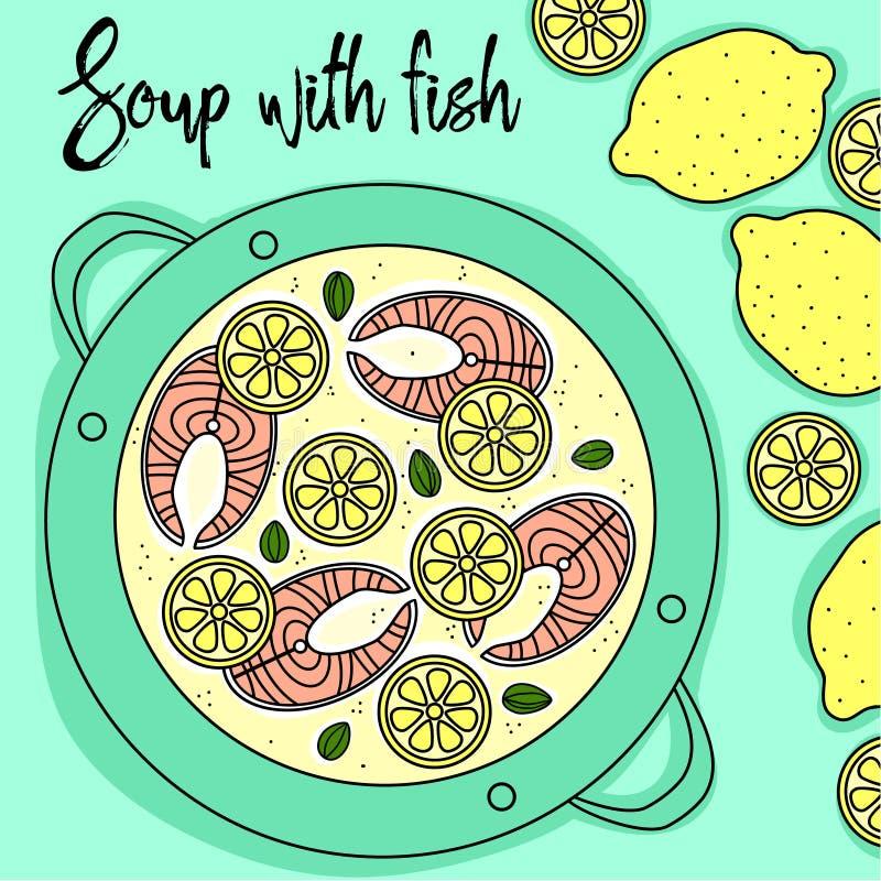 Polewka z ryba i cytryny ręki remisem ilustracja wektor
