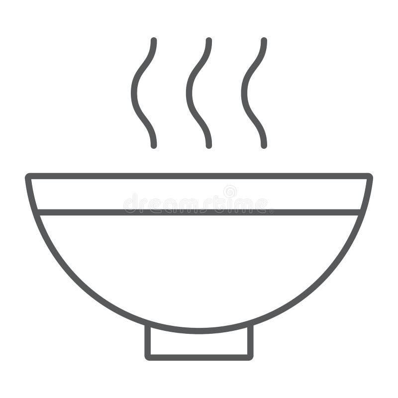Polewki cienka kreskowa ikona, jedzenie i posiłek, gorący zupnego pucharu znak, wektorowe grafika, liniowy wzór na białym tle royalty ilustracja