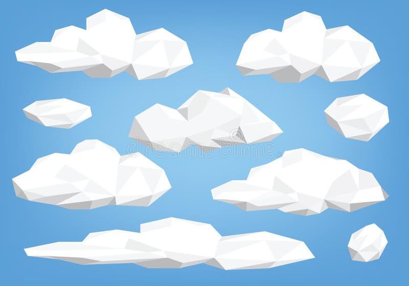 Poli ajustado da ilustração da nuvem baixo ilustração do vetor